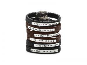 850-851-852 Silk leren armband met tekst
