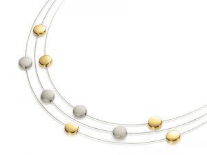 Boccia 3-rijig collier met goud verguld 0852-02