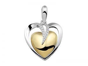 Hanger voor as, hart zilver verguld met steentjes 110-SB