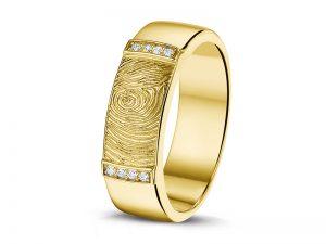Ring met vingerafdruk in geelgoud en diamant