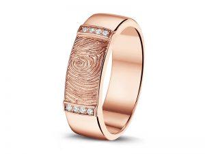 Ring met vingerafdruk in rose goud en diamant