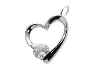 See You gedenksieraden hanger hart met steentje RL-001