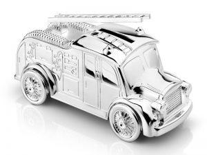Verzilverde spaarpot brandweerauto gratis graveren 7669261