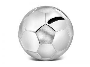 Verzilverde spaarpot voetbal gratis graveren A6007260