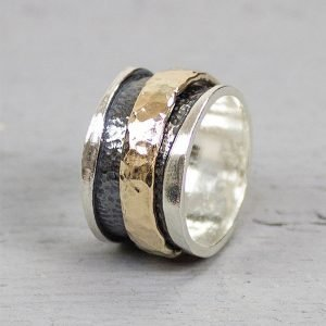 Ring met hamerslag en losse ring zilver en goldfilled19223