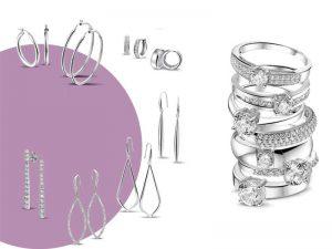 Zilveren oorbellen en ringen