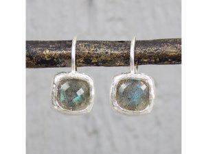 Zilveren oorbellen met labradoriet vierkant Jéh Jewels 19254