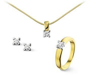 gouden sieraden setje met diamant
