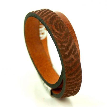 Stoere leren armband met vingerafdruk