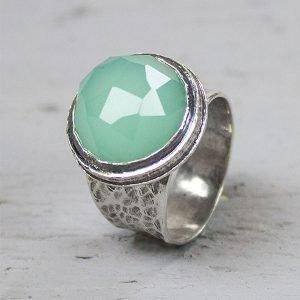 zilveren ring met groene steen groene quarts 16149
