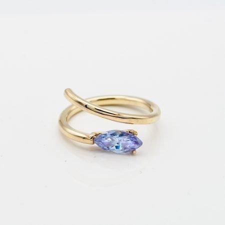 Gouden ring met amethist handgemaakt