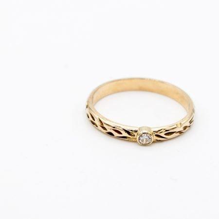 Smalle gouden ring met diamant