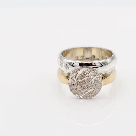 Oude ring vermaakt tot nieuwe ring met vingerafdruk
