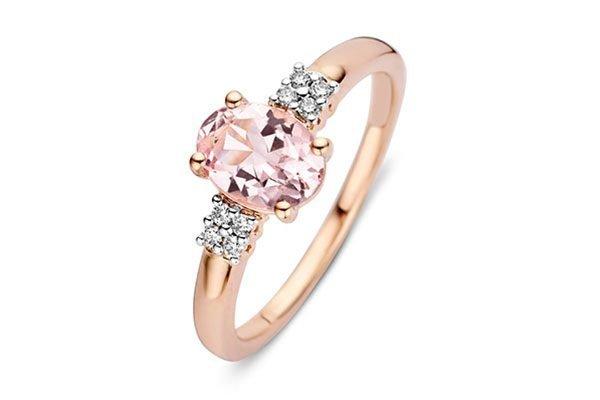 ring met fantasie zetting en gekleurde diamant