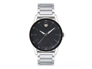 0607225-Movado-modern-zwitsers-herenhorloge-stalen-band-zwarte-wijzerplaat