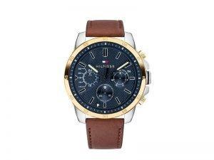 1791561-Tommy-Hilfiger-horloge-bruine-band-blauwe-wijzerplaat