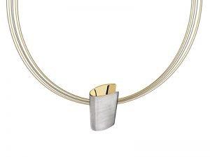 Yvette Ries moderne ketting zilver verguld