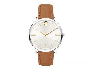 Movado horloge 0607371 Ultra Slim zwitsers bruin leren band