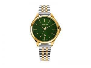 ZIW1035 Zinzi Classy horloge staal goudkleur groene wijzerplaat