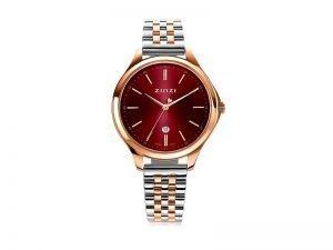 ZIW1038 Zinzi Classy horloge donkerrode wijzerplaat rosé staal kleur