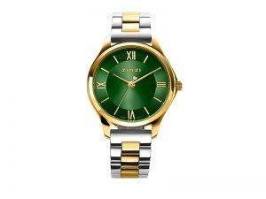 ZIW1235 Zinzi Classy mini horloge staal goudkleur groene wijzerplaat