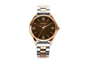 ZIW1236 Zinzi horloge Classy mini rose staal kleur bruine wijzerplaat