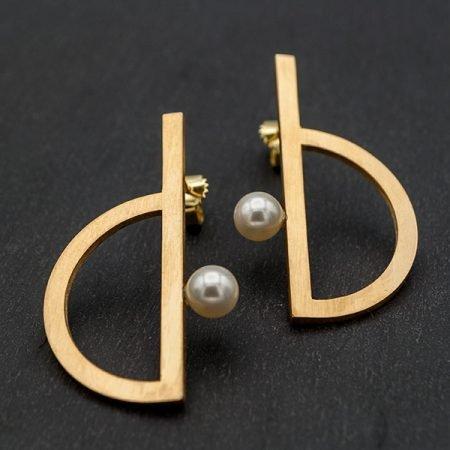 vergulde oorbellen met parel modern