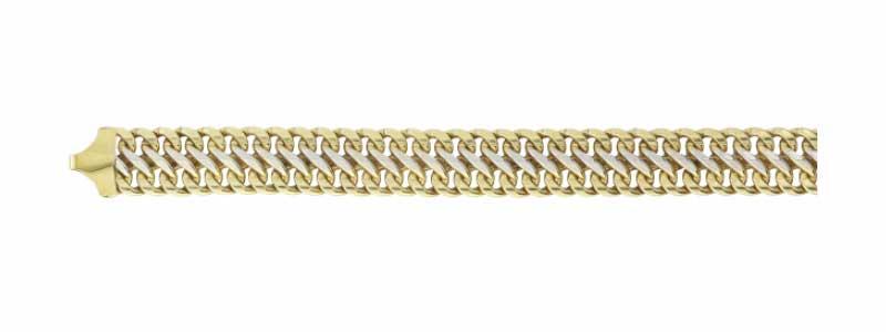 Armband-dubbele-gourmet-geelgoud-met-witgoud-massief-zilveren-kern-fjory