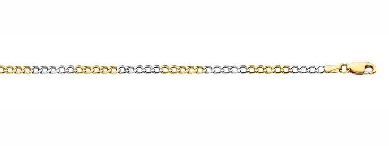 Armband-en-collier-gourmet-schakel-geelgoud-en-witgoud-van-fjory-