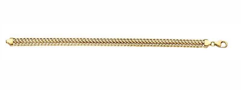 Gouden-armband-dubbele-gourmet-massief-fjory-zilveren-kern